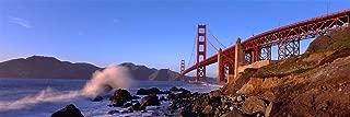 Walls 360 Peel & Stick Wall Mural: Waves Breaking on Rocks Golden Gate Bridge (36 in x 12 in)