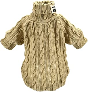 Haihuic Winter Knit Sweater for Dogs Warm Coat, Puppy, for Small, Medium, Large Dogs XS/S/M/L Size Beige