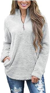 FOURSTEEDS Women's Casual Sherpa Fleece Pullover 1/4 Zipper Long Sleeve Collar Outwear Jacket Coat