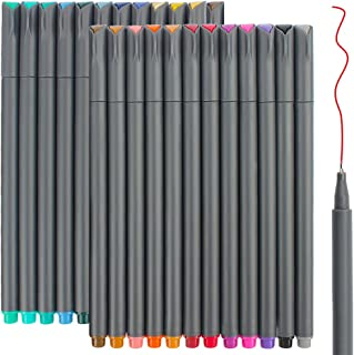 24 Fineliner Color Pens Set, Taotree Fine Line Colored Sketch Writing Drawing Pens for Journal Planner Note Taking and Coloring Book, Porous Fine Point Pens Markers