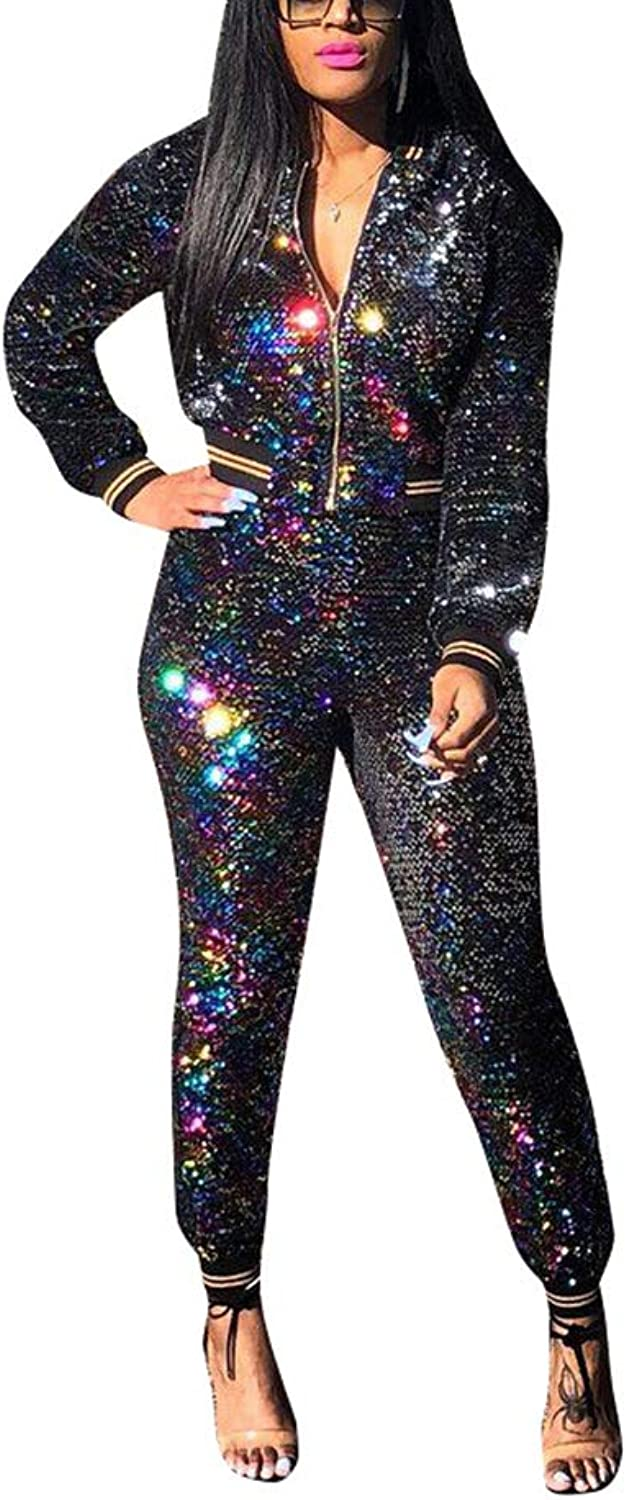 blueewolfsea Women's All Sequin 2 Piece Outfits Bodycon Clubwear Glitter Long Sleeve Zip Up Jacket and Pants Set Tracksuit