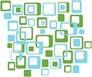 Wall Decor Plus More WDPM1036 Funky R/Squares Wall Sticker Vinyl Decal 40-Piece 2 Color Retro Mod Shapes Fun Easy Peel-N-Stick Application, Geyser Blue and Lime Green