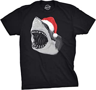 Mens Santa Jaws T Shirt Cool Christmas Hat Shark Ocean Pun Tee for Xmas Party