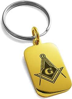 Tioneer Stainless Steel Freemasons Masonic Royal Compass Symbol Small Rectangle Dog Tag Charm Keychain Keyring