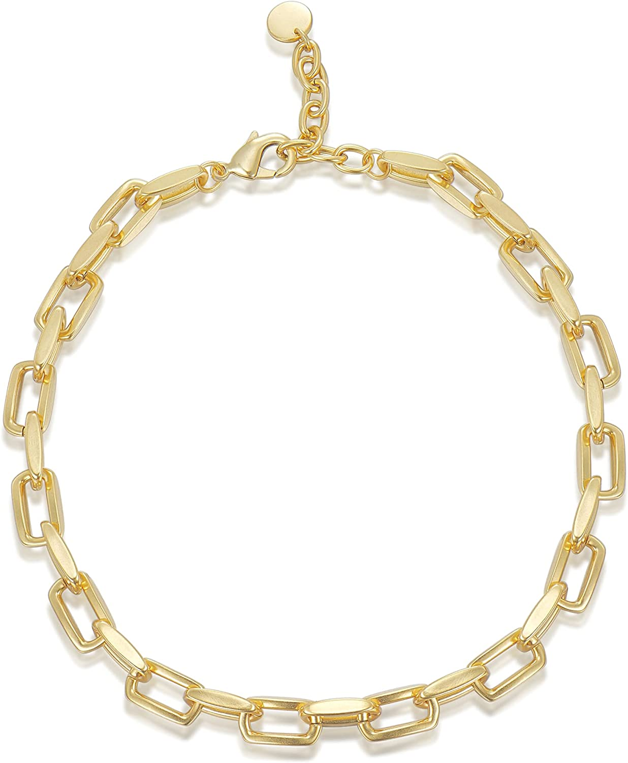 QOZAINE Matte Frosted 18K Real Gold Plated Thick Chunky Chain Necklace for Women Teen Girls, Dainty Paperclip Link Chain Chocker,9mm Width, 2mm Thick, Color Won't Fade