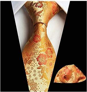 Tie Set for Mens Cravat Luxury Floral Pattern Wedding Necktie with Pocket Square Set