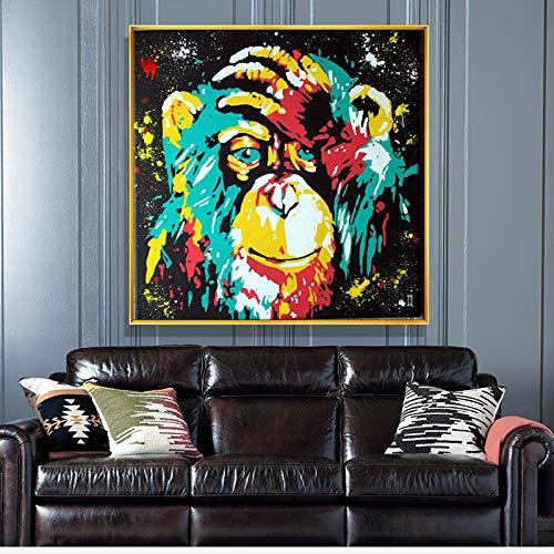 ZMFBHFBH Colorido Graffiti Art Thinking Monkey Arte de la Pared Posters Impresiones Animales Abstractos Cuadro de Pintura para la decoración de la Sala de Estar 20x20cm con Marco