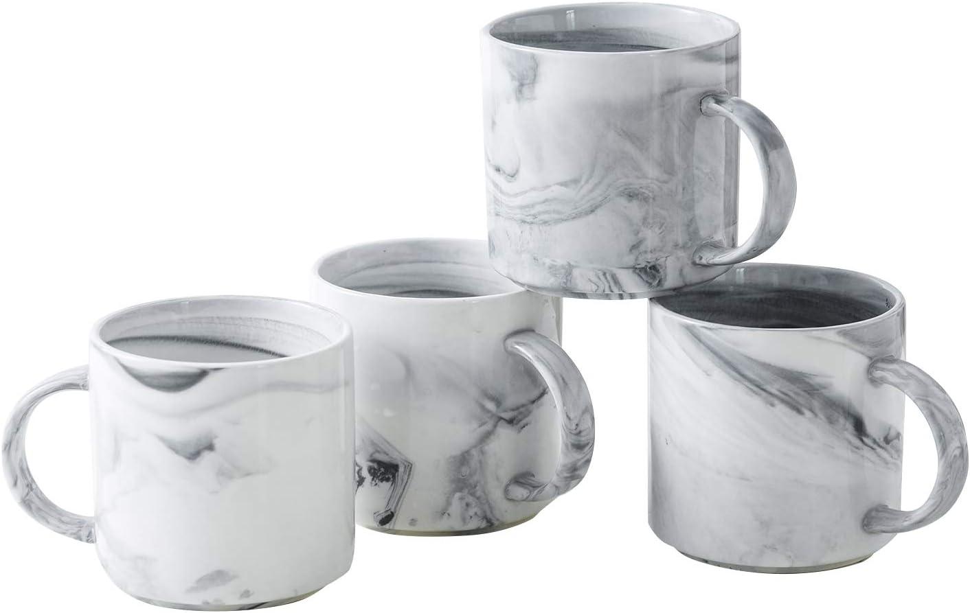 Yundu 12 OZ Grey Marble Porcelain Mugs Sets,Coffee and Tea Mug.Set of 4