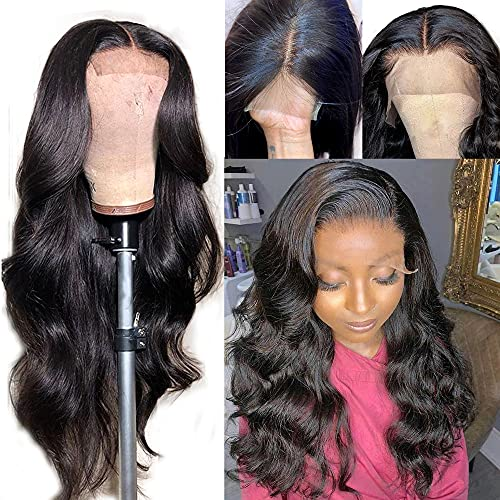 TESLAL Lace Front Wigs Human Hair 24 inch Body Wave Lace Front Human Hair Wigs For Black Women 150% Density Pre Lucked 4x4 Lace Closure Wigs With Baby Hair