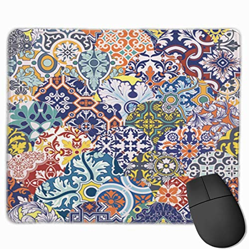 Nettes Gaming-Mauspad, Schreibtisch-Mauspad, kleine Mauspads für Laptop-Computer, Mausmatte Arabesque Azulejos Fliesen Patchwork Blumenmuster Spanien Teppich Keramik