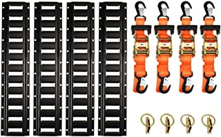 Motorcycle Kit, Ratchet Tie Down Straps, 2` E-Track Rails, 8' x 1-1/2 Safety Snap Hooks & Soft-tie D Ring, Cargo Accessory Securing Motorcycles, Dirt Bikes, Kayaks, Atvs, Utvs