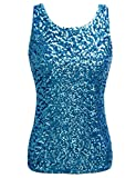 PrettyGuide Women Shimmer Glam Sequin Embellished Sparkle Tank Top Vest Tops XS Lake Blue