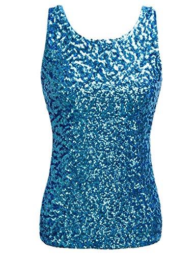 PrettyGuide,Damen Shimmer Glam Pailletten verziertes Sparkle Traegershirt, Gr. S (Herstellergroesse M), lake blue