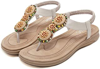 Brown and gold sandals size 7 with pearl flower