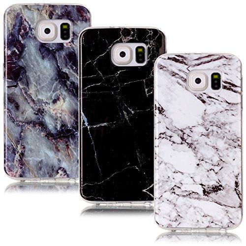 CLM-Tech Galaxy S6 Hülle 3X, TPU Gummi Schutzhülle Tasche Case passgenau Kratzfest Cover Gel Schale Silikonhülle 3er Set, Marmor Muster schwarz weiß bunt