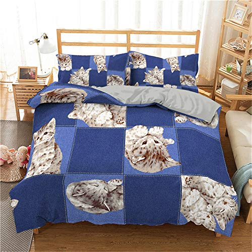 DJINGSN 3d Cat Printed Bedding Sets Cartoon Plaid Geometry Twin Queen Size Microfiber Bed Duvet Cover Pillowcase For Bedroom