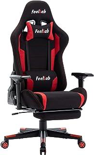 【 待望の4Dアームレスト 】(Feellab) ゲーミングチェア オフィスチェア 通気性 高級 ウレタン搭載 テレワーク (デスク用, 黒×赤)