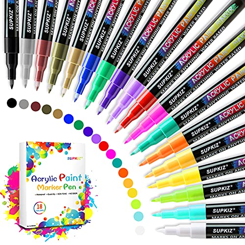 Acrylic Paint Markers Pens Set with 18 Colors Acrylic Paint Pens for Rocks...