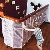 CestMal Red de Seguridad Malla Red de Seguridad para Balcones Resistente &Impermeable Red de Seguridad Niños Ajustable a Balcón/Escaleras/Patios, 74 cm x 300 cm-Blanco