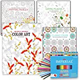 Adult Coloring Books Value Set -- 4 Assorted Coloring Books for Adults with Colored Pencils Kit (Over 120 Stress Relieving Patterns)