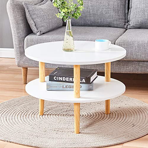 Huisen Furniture Small Round Side Sofa Table White with 2 Tiers Storage Shelf for Corner Living Room Little Wooden Coffee End Tea Snack Table for Kids Bedroom Balcony