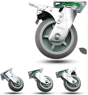 4 x Heavy Duty wielen/Castor 20,3 cm wielen / wielen rem met Top PlateDouble BearingSingle wiel 350 kg draagkracht (kleur:...