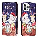 Funda tipo cartera para iPhone 6, diseño de Navidad, funda de piel con hebilla de libro de poliuretano con tarjeteros, carcasa interior de TPU, a prueba de golpes, para iPhone 6/6S/7/8/SE