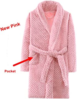 Nobrand Fashionable Kids Bath Robes Winter Children's Bathrobe Solid Color Flannel Bathgrowns for Big Boys Girls Soft Belt Pyjamas|Robes| |
