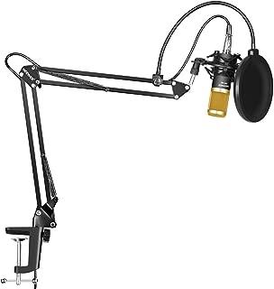 Neewer NW-800 Micrófono Condensador Profesional Estudio y NW-35 Micrófono Grabación Ajustable Suspensión Brazo de Tijera Soporte con Montaje Anti-choque y Kit Abrazadera de Montaje