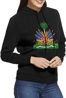 Coat of Arms of Haiti Women's Long Sleeve Pullover Hoodie Sweatshirt Black