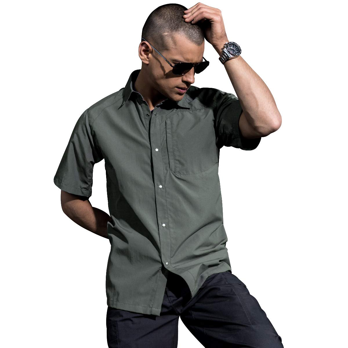 FREE SOLDIER Mens Shirts Outdoor Breathable Quick-Drying Short Sleeve Tactical Shirt