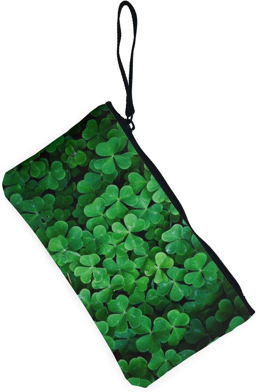 AORRUAM Green clovers Canvas Coin Purse,Canvas Zipper Pencil Cases,Canvas Change Purse Pouch Mini Wallet Coin Bag