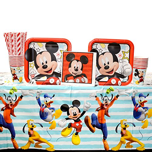 Cedar Crate Market Disney Mickey Mouse On The Go Party Supplies Pack for 16 Guests: Straws, Dinner Plates, Luncheon Napkins, Table Cover, and Cups