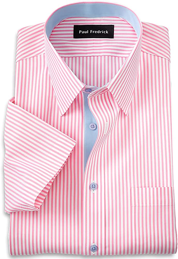 Paul Fredrick Men's Slim Fit Non-Iron Cotton Stripe Short Sleeve Dress Shirt