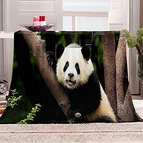 LHUTY Manta acogedora Panda 100x130 cm Manta de Franela Microfibra Súper Suave Cálida Manta de sofá Impresión En 3D Multifunción Manta, para Adultos y Niños