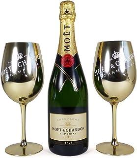 75cl Moet et Chandon Brut Imperial Champagner und 2 Goldene Becher - Geschenkidee für Valentinstag, Muttertag, Geburtstag, Hochzeit, Jubiläum, Verlobung, Gratulation