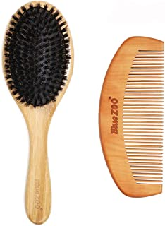 BlUE ZOO Natural Bamboo Hair Brush Bamboo Black Bristles Gasbag Massage Comb with Beard Combs a Set,Improve Hair Growth, P...