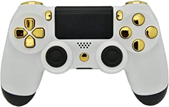 White & Gold PS4 Rapid Fire Modded Controller, Works with All Shooting Games, Rapid Fire, Dropshot, Akimbo & More