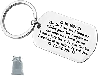 to My Man Keychain Gift for Him,Wedding Anniversary Valentine's Day Birthday Gift for Boyfriend Fiance Husband I was A Little Late to Be Your First Keychain