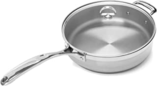 Chantal SLIN34-280 Induction 21 Steel Saute Skillet with Glass Tempered Lid (5-Quart)