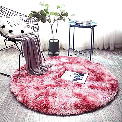 ZHOUZEKAI Alfombra Redonda, Alfombra Antideslizante para el hogar, Adecuado para la decoración de Salas de Estar y dormitorios alfombras oscuras y claras (Rosa Claro, 100 cm)