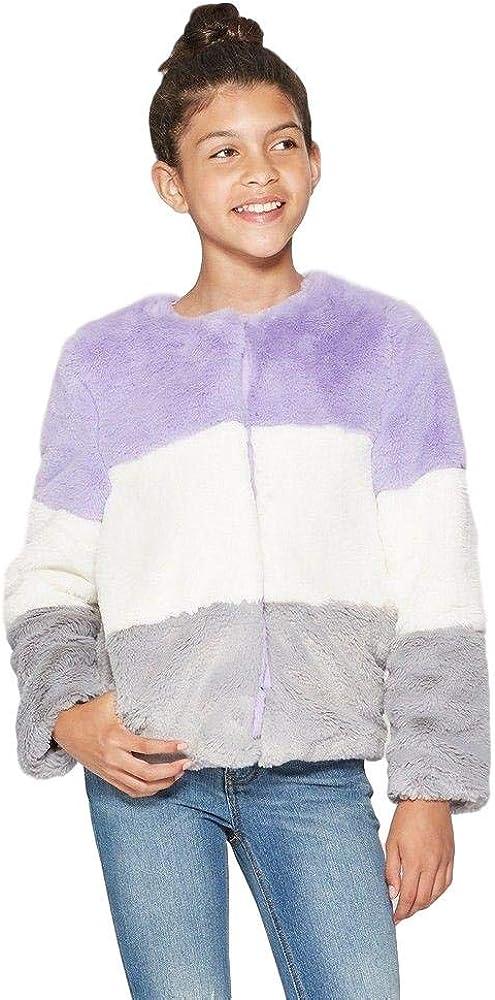 Cat & Jack Girls' Faux Fur Jacket - Purple/White/Gray - XL