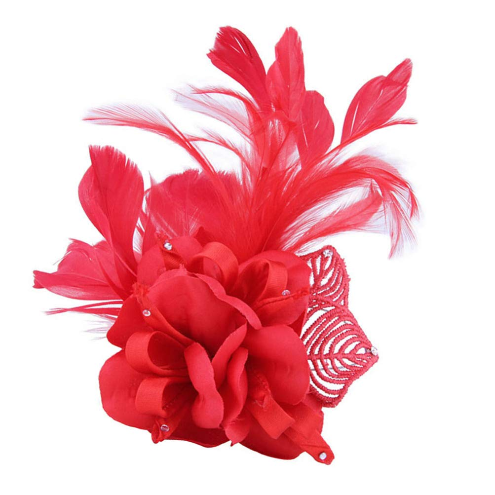 LEORX Feather Flower Hair Clip Vintage Fascinators Hats Barrettes Tea Party Brooch for Women (Red)
