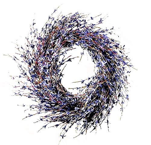 24 inch Faux Dried Lavender Floral Door Wreath Natural for Fall Front Door or Indoor Home Decor