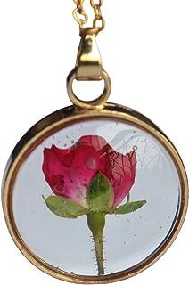 Rojo Rosa Real Flores Transparente Vaso Medallón Flotante Colgante 18k Chapado en Oro Cadena Collares