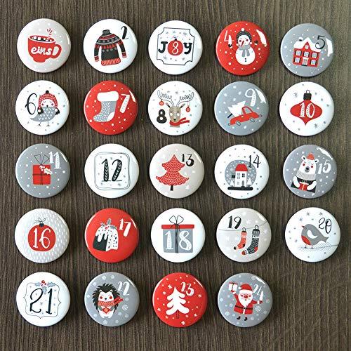 Miuezuth Adventskalender Buttons Zahlen (Ø 32 Mm), 24 Sticker Ansteck-nadeln Für Weihnachtskalendern Zum Selber Basteln, 24 Zahlen Pins Für DIY - Zum Anstecken an Jutesäckchen
