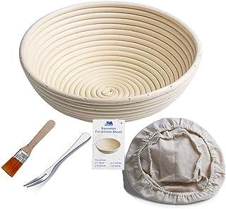 Banneton rond L'Imperméabilité Panier 25 cm Banneton Brotform pâte pour pain et brosse sans [1000g de pâte] l'Imperméabili...