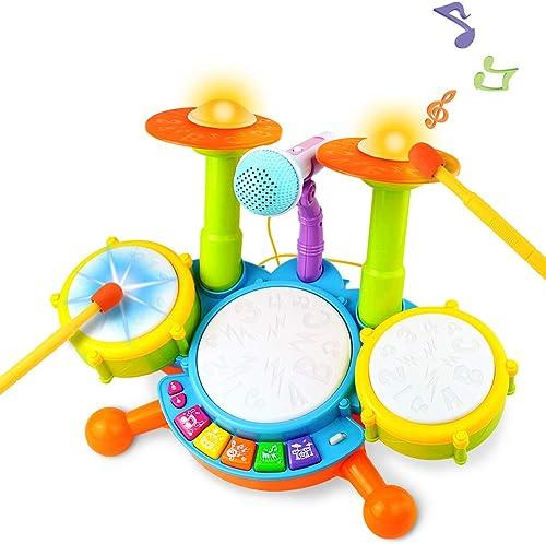Tambour Jouet Enfants Instruments de Musique pour Les Tout-Petits Avec des Comptines Kit de Batterie lectronique ÉIdé...