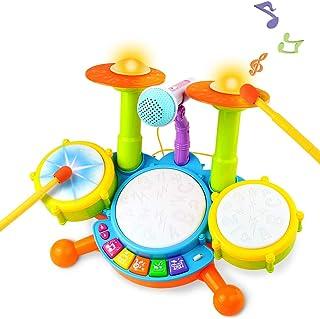 Tambour Jouet Enfants Instruments de Musique pour Les Tout-Petits Avec des Comptines Kit de Batterie lectronique ÉIdée Cad...