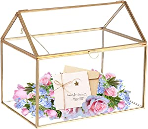"""Mostbest Glass Wedding Card Box, Glass Gift Boxes, Terrarium Card Holder Perfect for Centerpiece Decor,Wedding Receptions, Planter Holder, Gift & Display Box (8.26""""x5.9""""x7.48"""")"""